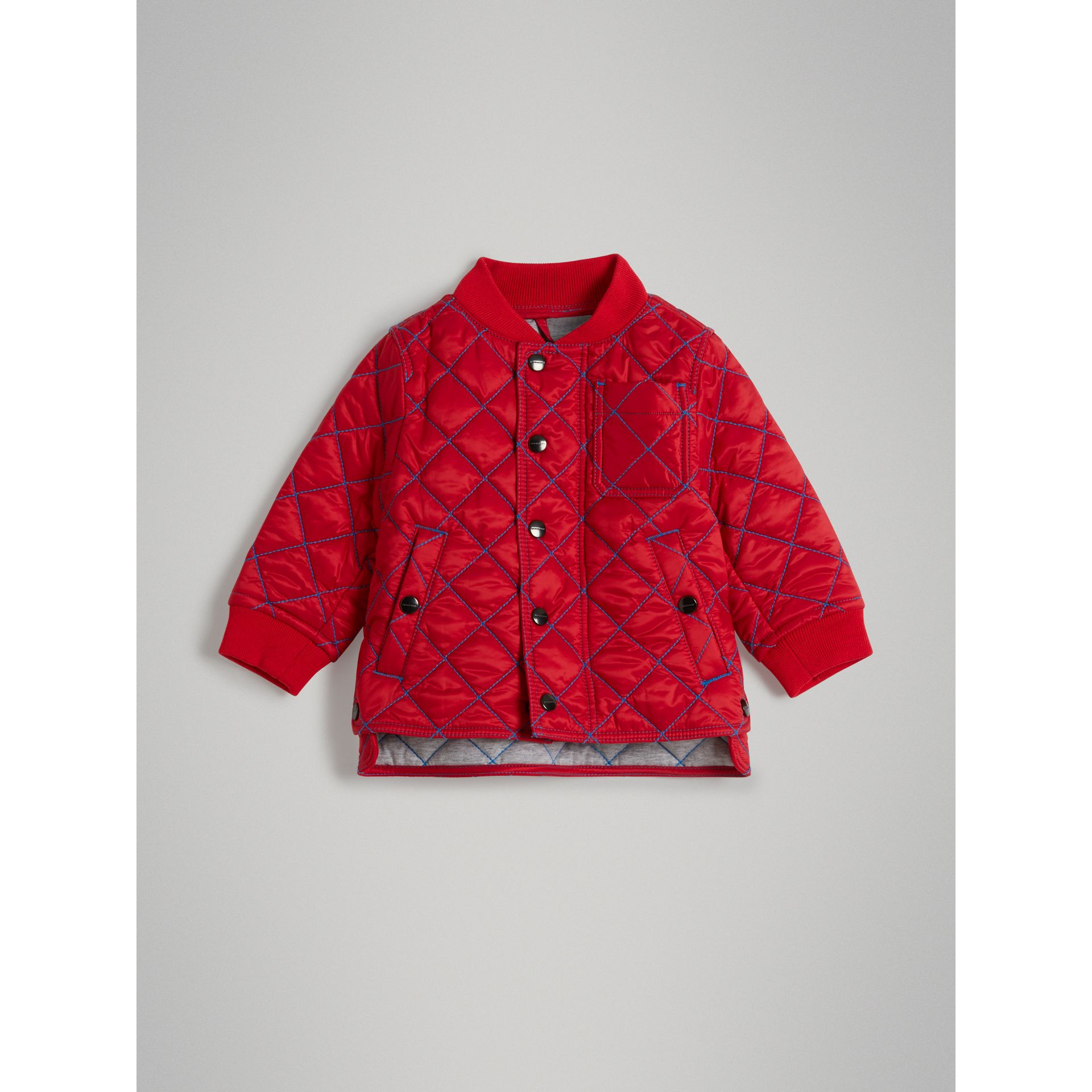 Topstitched Quilted Jacket in Bright Orange Red - Children | Burberry - gallery image 0