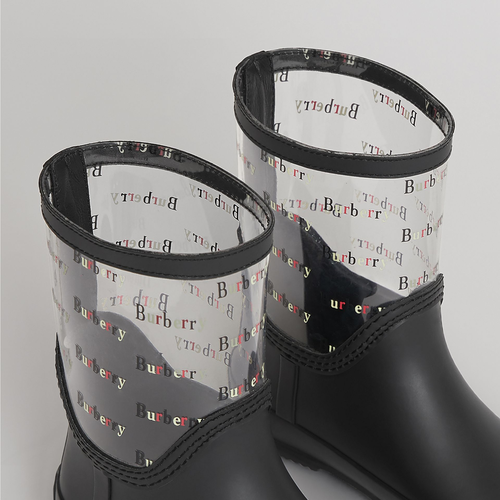 Logo Print Rubber Rain Boots in Black | Burberry - gallery image 1