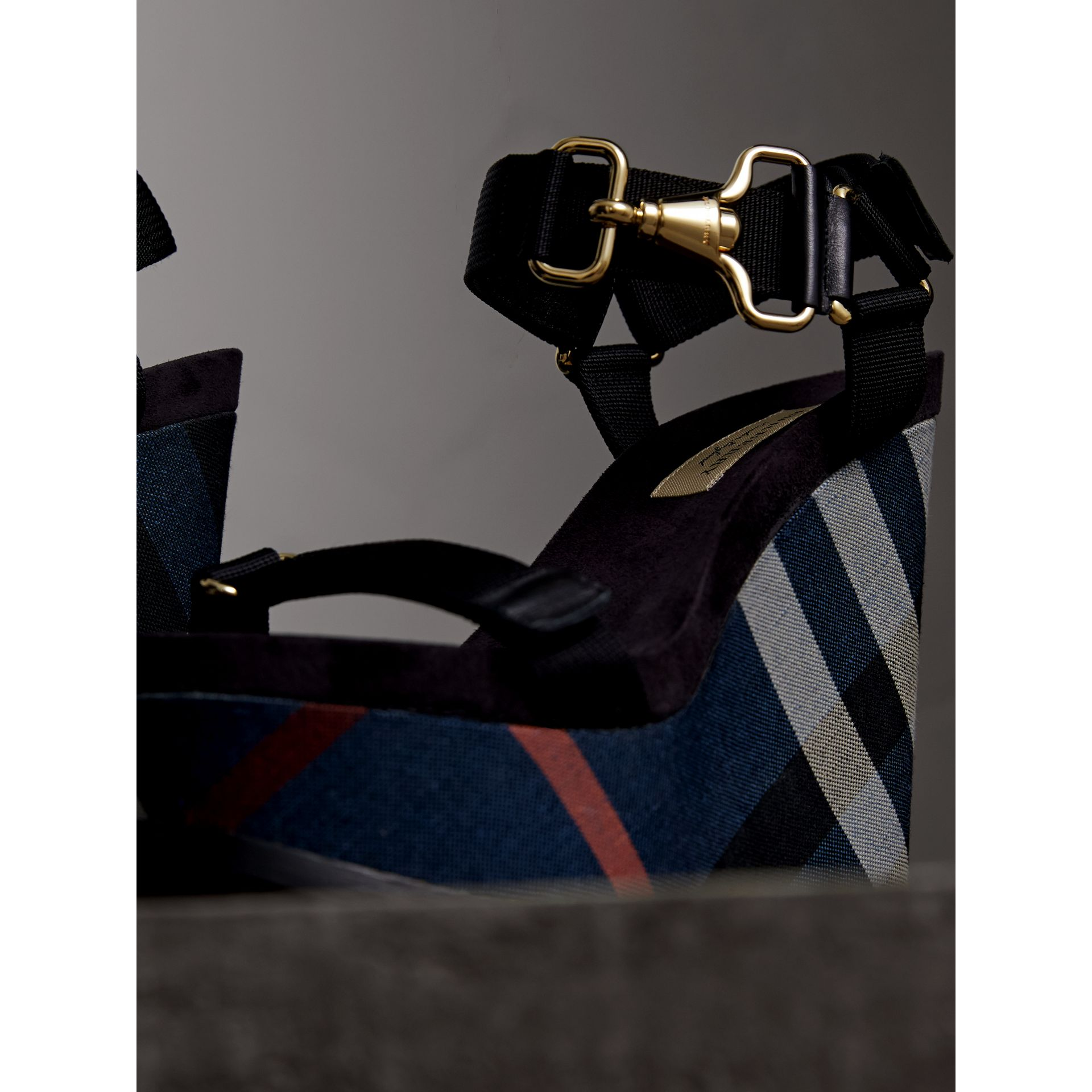 Hardware Detail Ripstop and Check Wedge Sandals in Ink Blue - Women | Burberry - gallery image 5