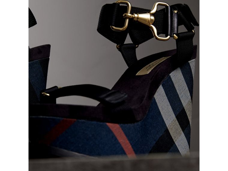 Hardware Detail Ripstop and Check Wedge Sandals in Ink Blue - Women | Burberry - cell image 4