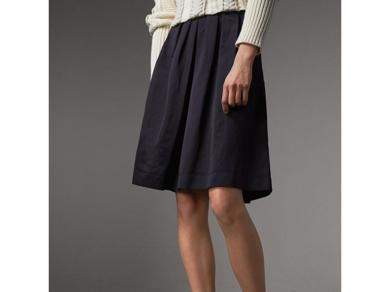 Pleated Linen Cotton Blend Skirt in Navy - Women | Burberry - cell image 4