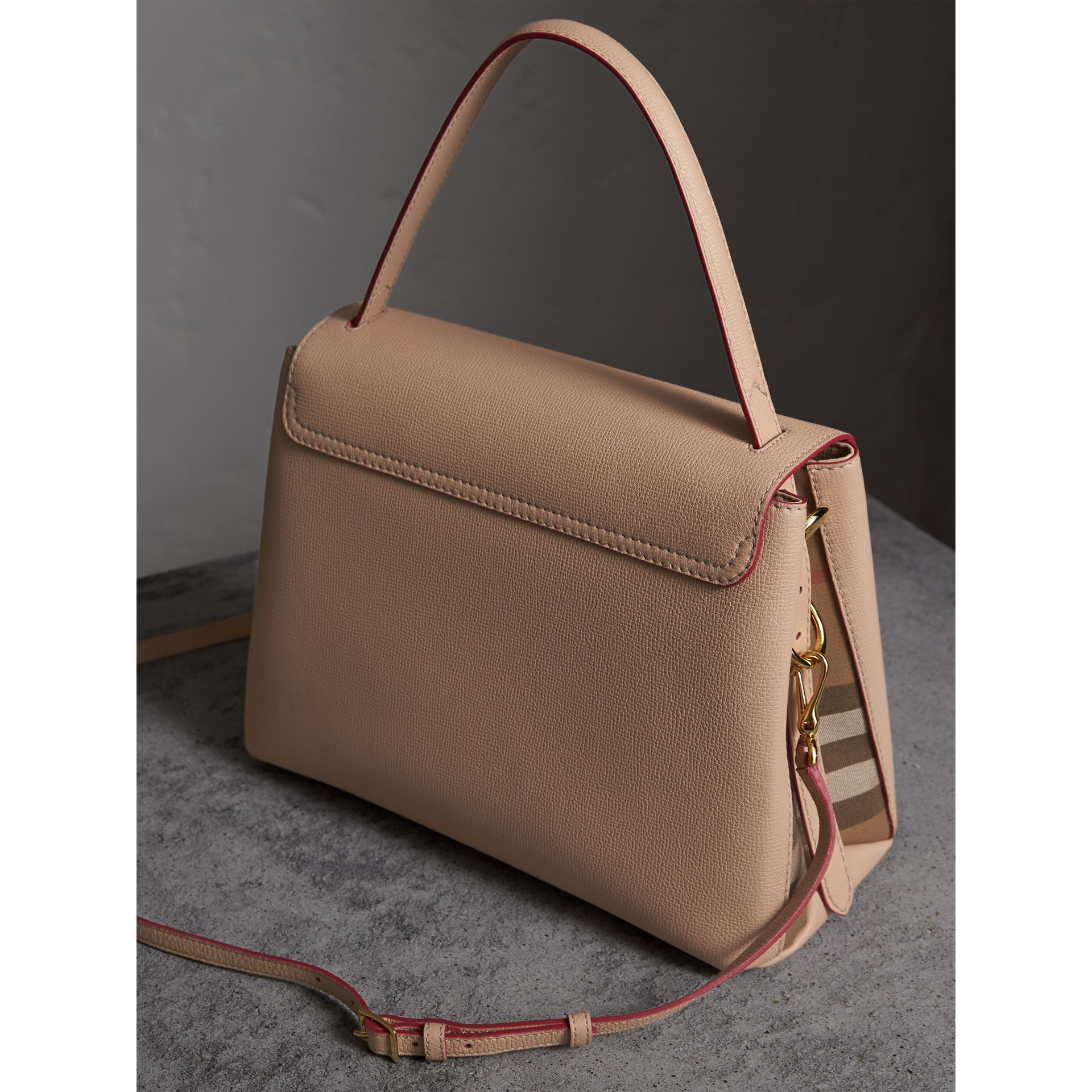 Medium Grainy Leather and House Check Tote Bag in Pale Apricot - Women | Burberry Singapore - gallery image 4