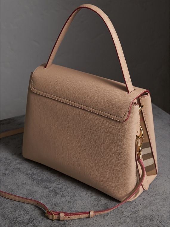 Medium Grainy Leather and House Check Tote Bag - Women | Burberry - cell image 3