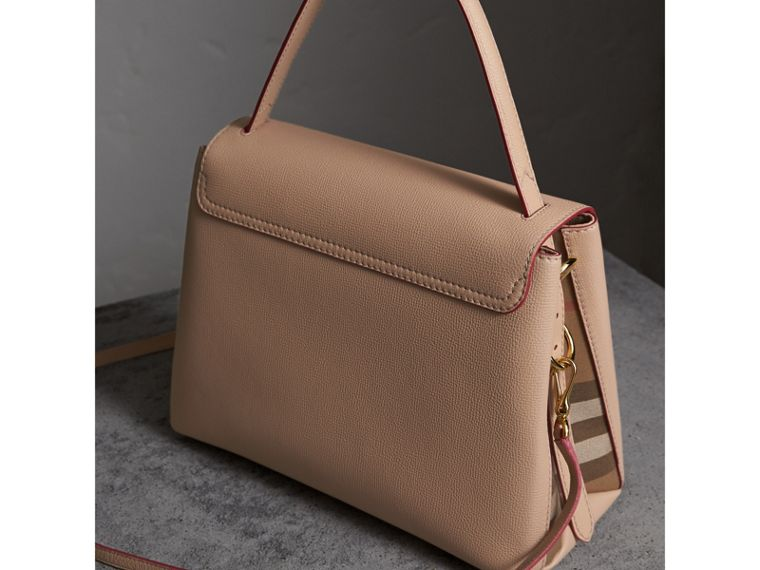Medium Grainy Leather and House Check Tote Bag in Pale Apricot - Women | Burberry - cell image 4
