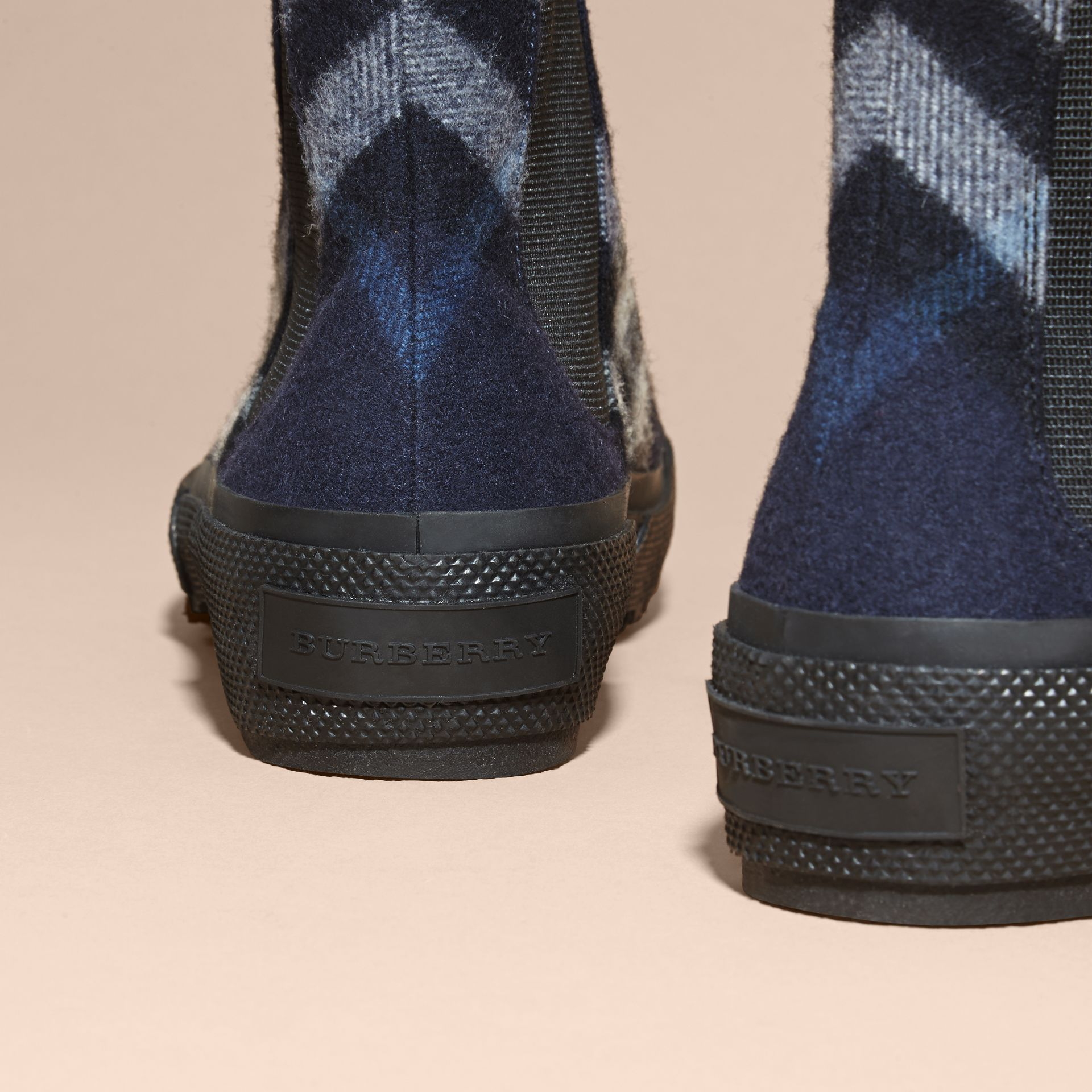 Dark indigo Check Technical Wool and Vulcanised Rubber Boots Dark Indigo - gallery image 4