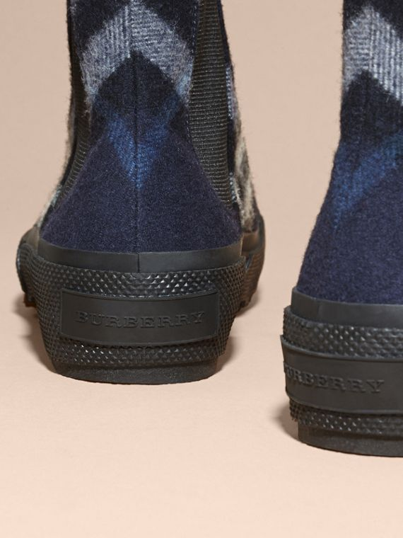 Dark indigo Check Technical Wool and Vulcanised Rubber Boots Dark Indigo - cell image 3