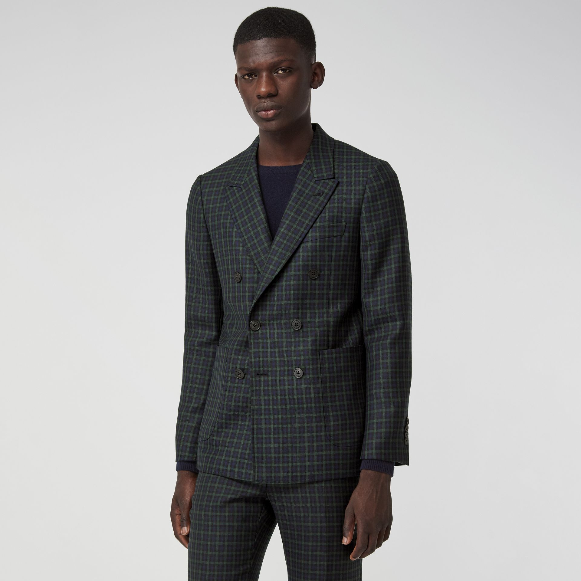 Slim Fit Tartan Wool Tailored Jacket in Navy - Men | Burberry - gallery image 5