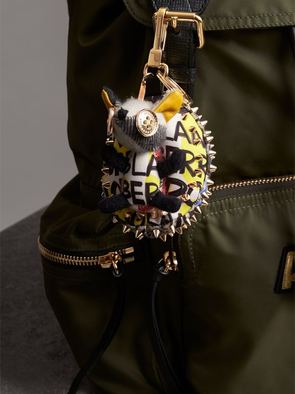 Bob The Hedgehog Graffiti Print Cotton Charm in Grey | Burberry Australia - cell image 2