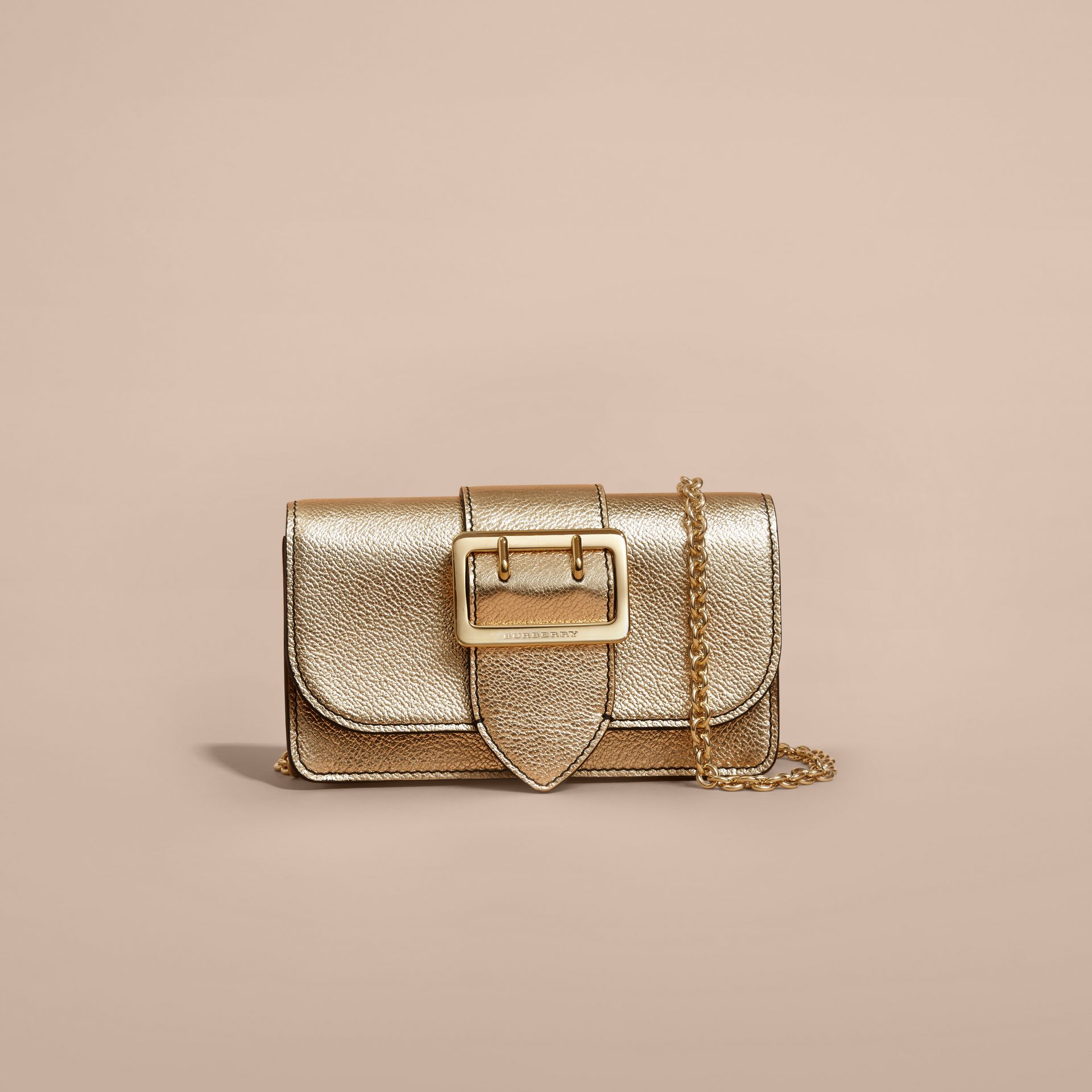 Gold The Mini Buckle Bag in Metallic Grainy Leather Gold - gallery image 9