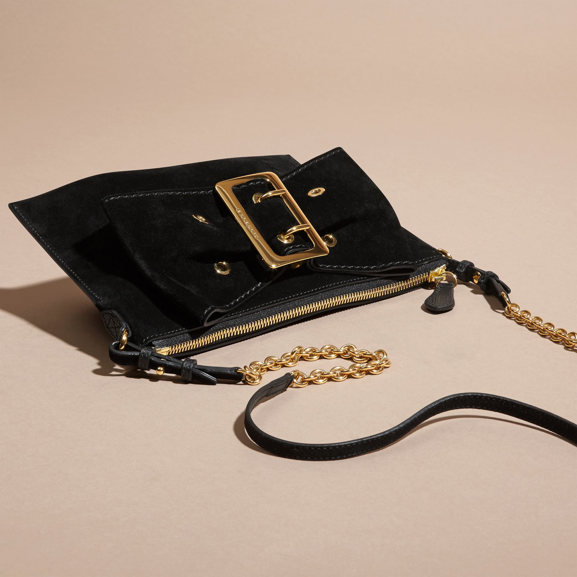 Black Suede Clutch Bag with Buckled Bow Detail Black - gallery image 8