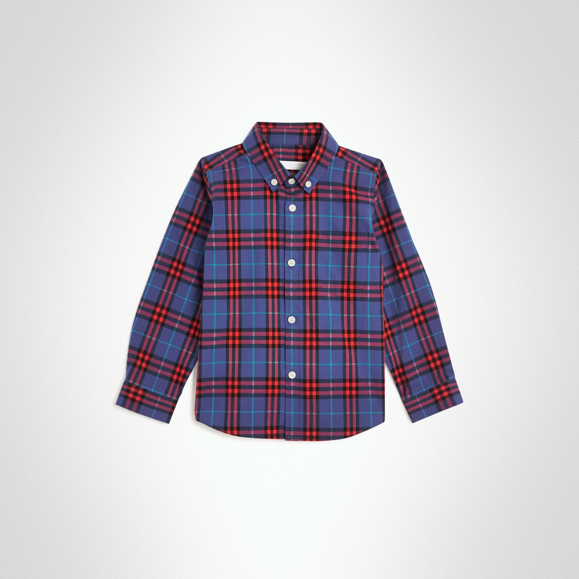 Button-down Collar Check Flannel Shirt in Sapphire Blue | Burberry Canada - gallery image 0