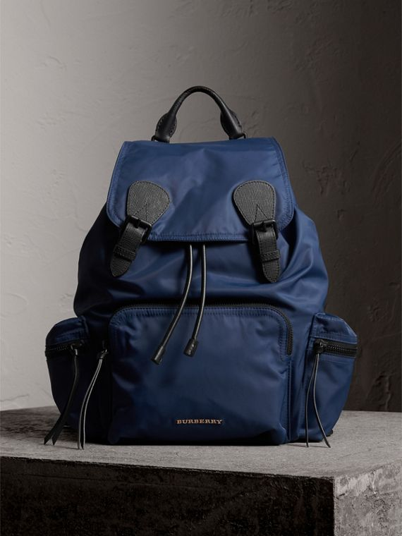 The Large Rucksack in Technical Nylon and Leather in Steel Blue