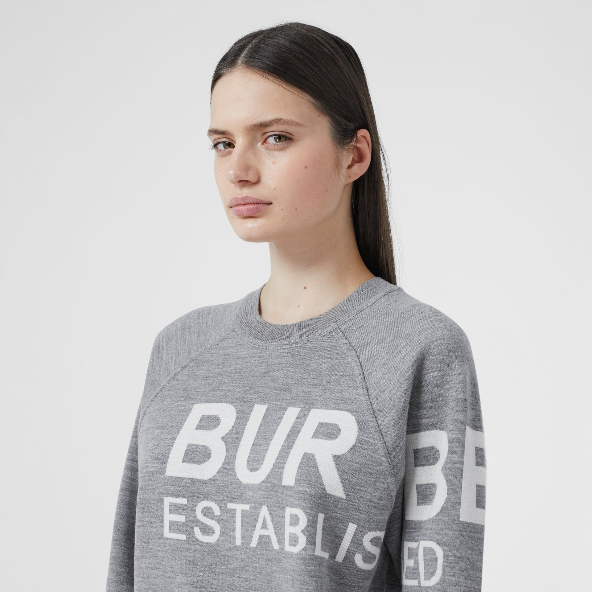 Horseferry Merino Wool Blend Jacquard Sweater in Grey Melange - Women | Burberry United Kingdom - gallery image 1