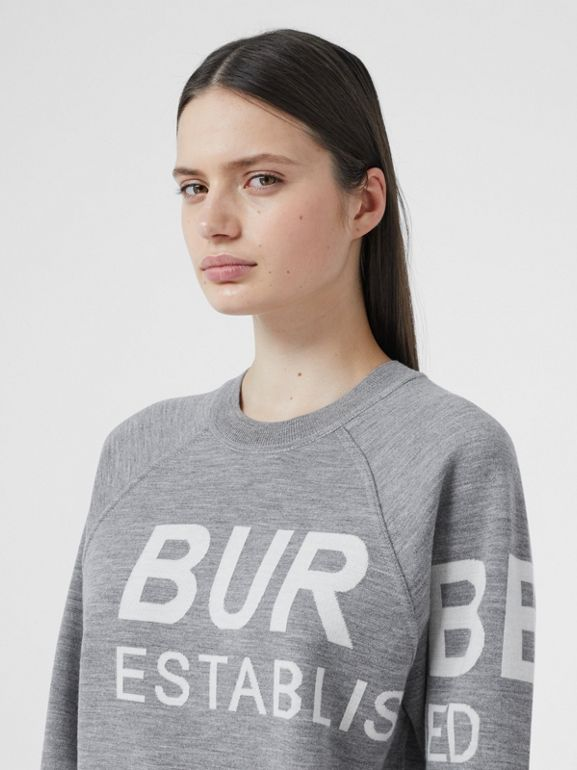 Horseferry Merino Wool Blend Jacquard Sweater in Grey Melange - Women | Burberry United Kingdom - cell image 1