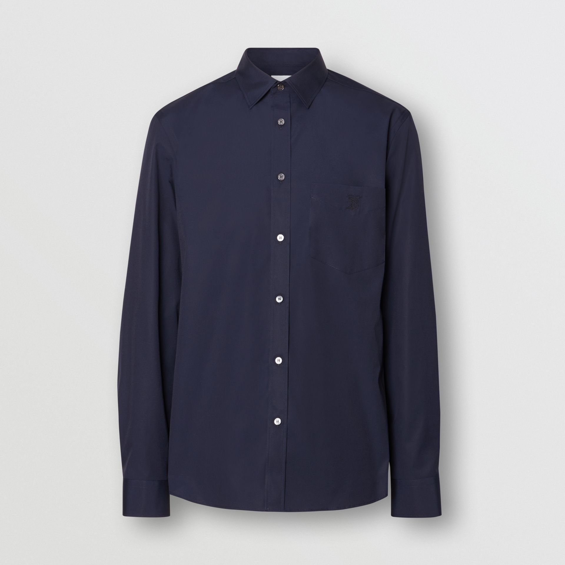 Monogram Motif Stretch Cotton Poplin Shirt in Navy - Men | Burberry - gallery image 3