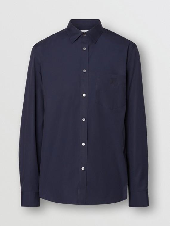 Hemd aus Stretchbaumwollpopelin mit Monogrammmotiv (Marineblau)