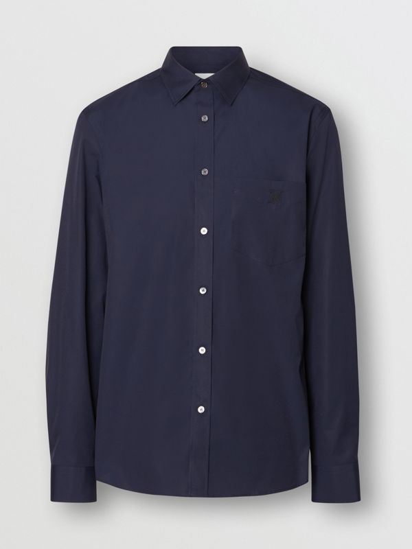 Monogram Motif Stretch Cotton Poplin Shirt in Navy - Men | Burberry United Kingdom - cell image 3