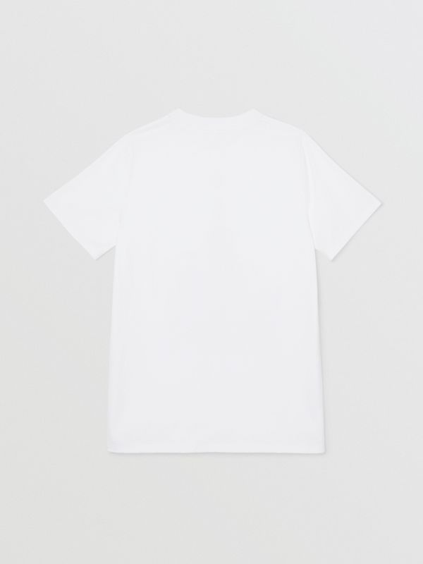 Montage Logo Print Cotton T-shirt in White | Burberry - cell image 3