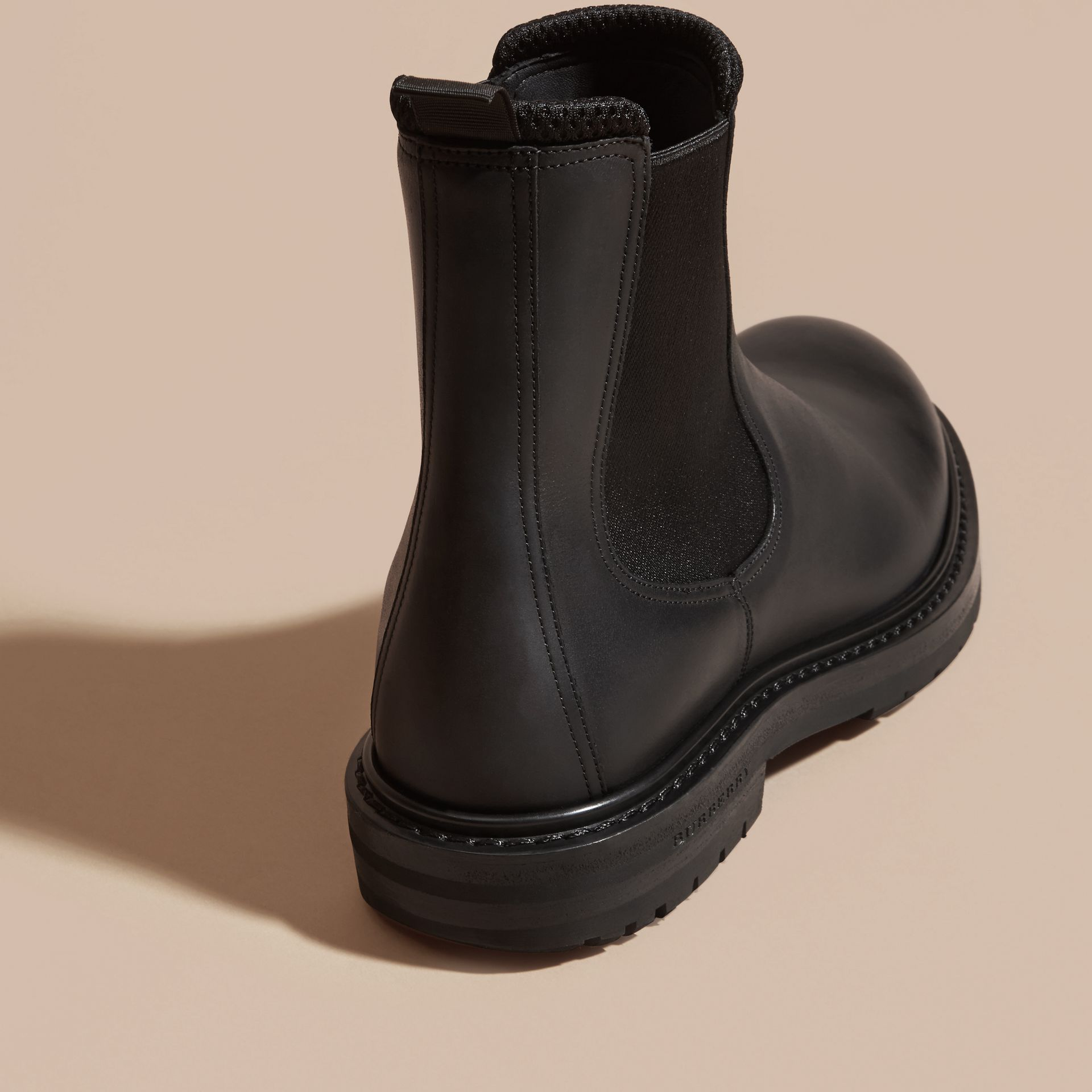 Black Leather Chelsea Boots - gallery image 4