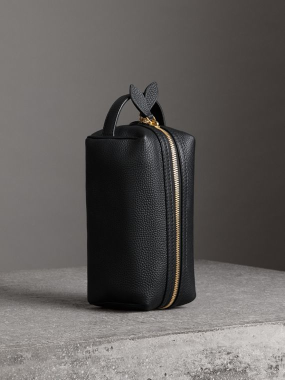 Embossed Grainy Leather Pouch in Black
