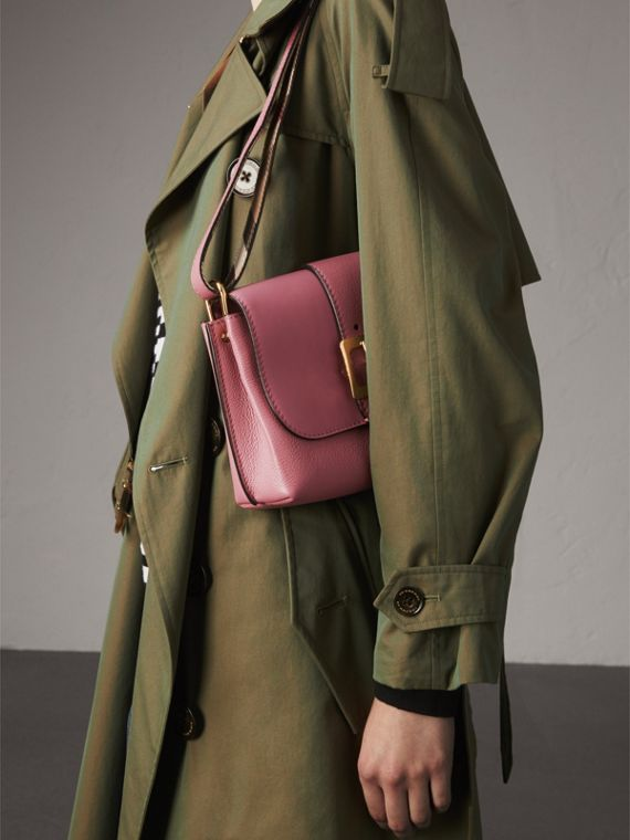 The Buckle Crossbody Bag in Leather in Dusty Pink - Women | Burberry - cell image 3