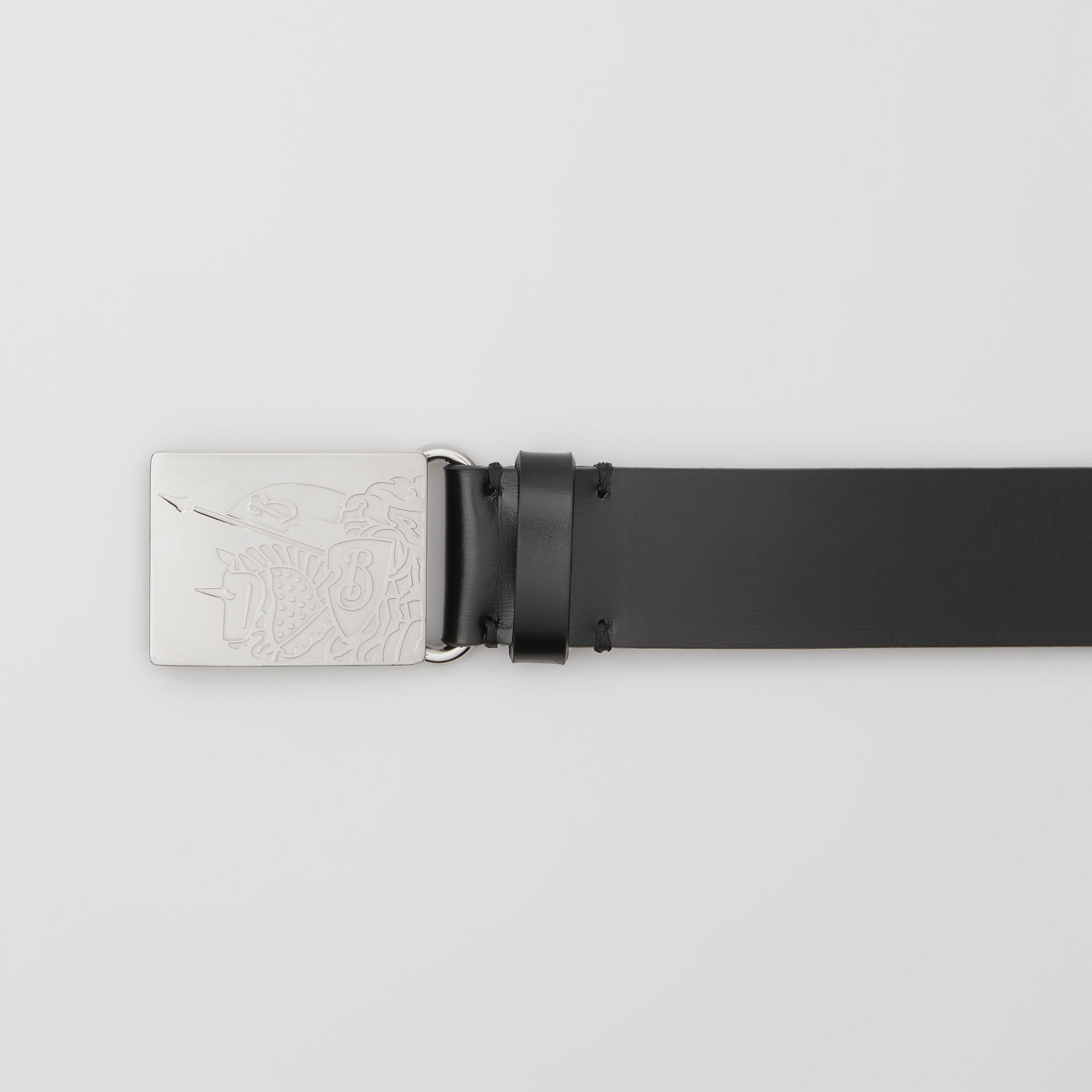 EKD Plaque Buckle Leather Belt in Black - Men | Burberry - gallery image 1