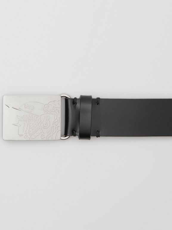 EKD Plaque Buckle Leather Belt in Black - Men | Burberry Singapore - cell image 1