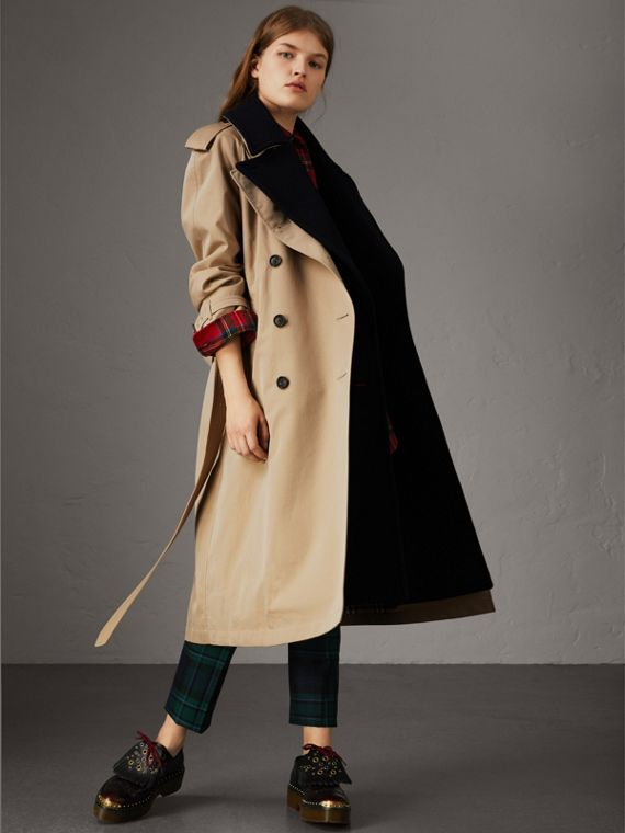 Tropical Gabardine Trench Coat with Detachable Facing in Honey