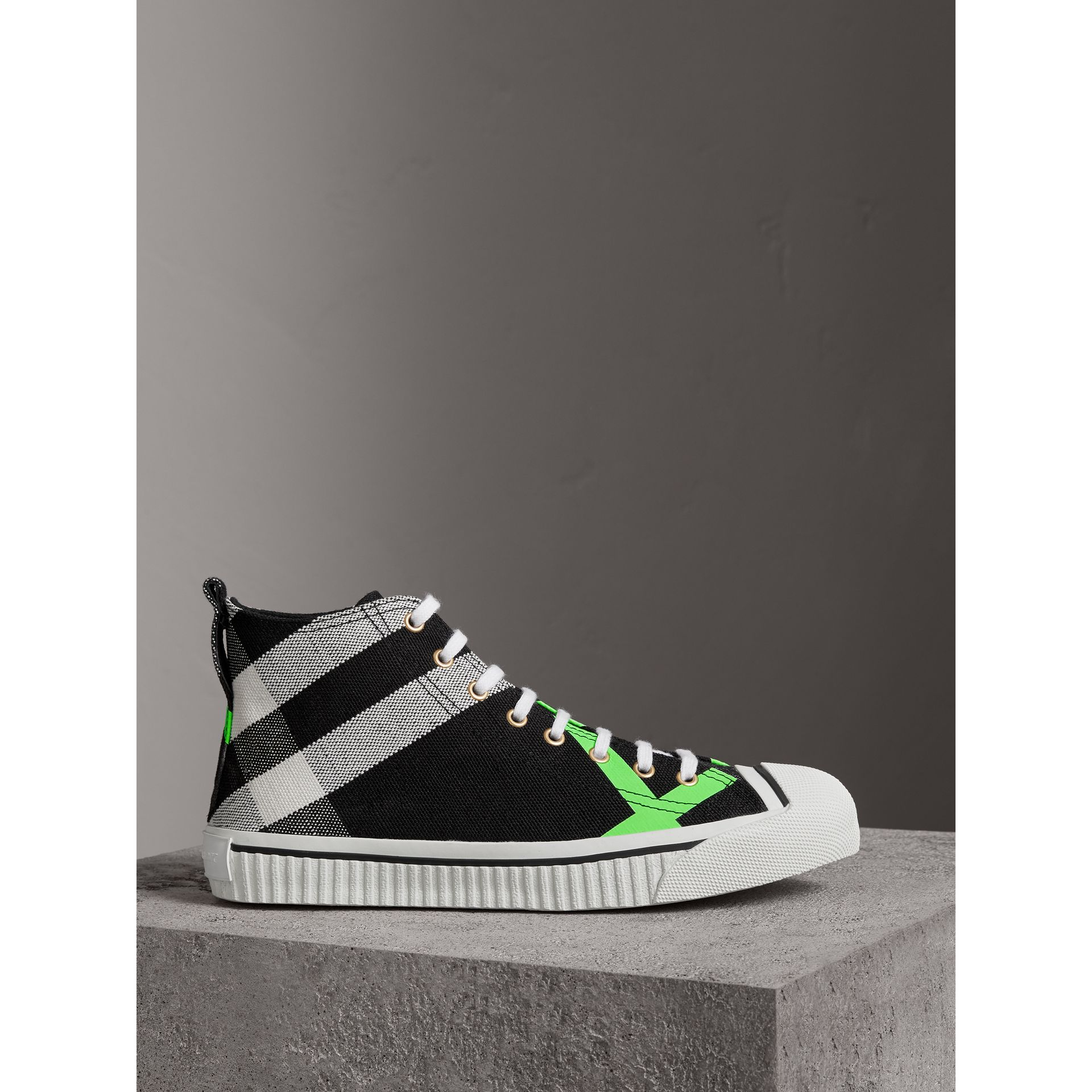 Canvas Check and Leather High-top Sneakers in Black/neon Green - Men | Burberry - gallery image 4
