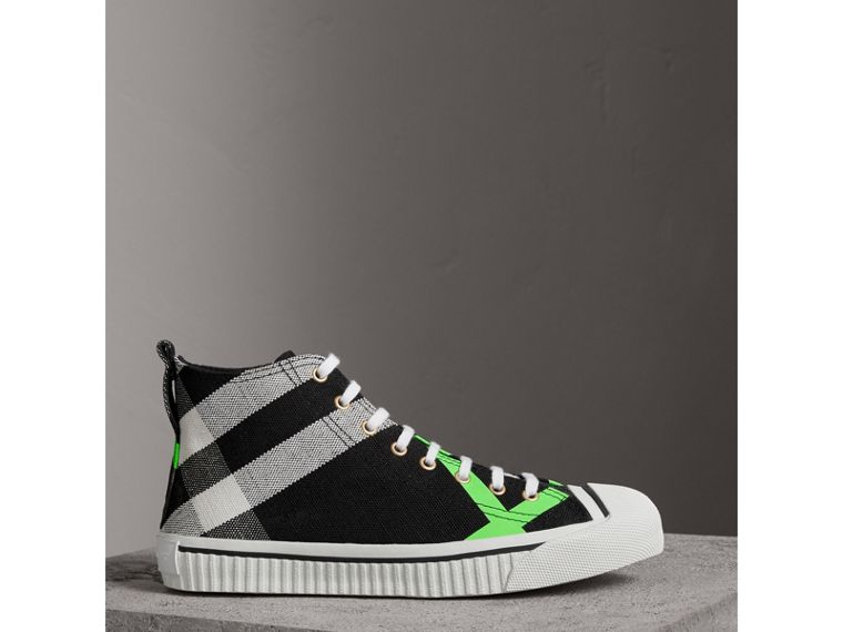 Canvas Check and Leather High-top Sneakers in Black/neon Green - Men | Burberry Australia - cell image 4
