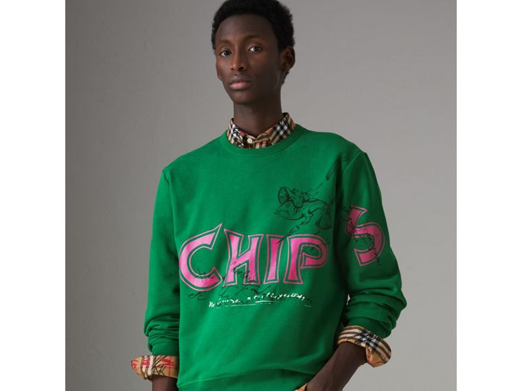 Fish and Chips Print Cotton Sweatshirt in Pigment Green - Men | Burberry - cell image 4