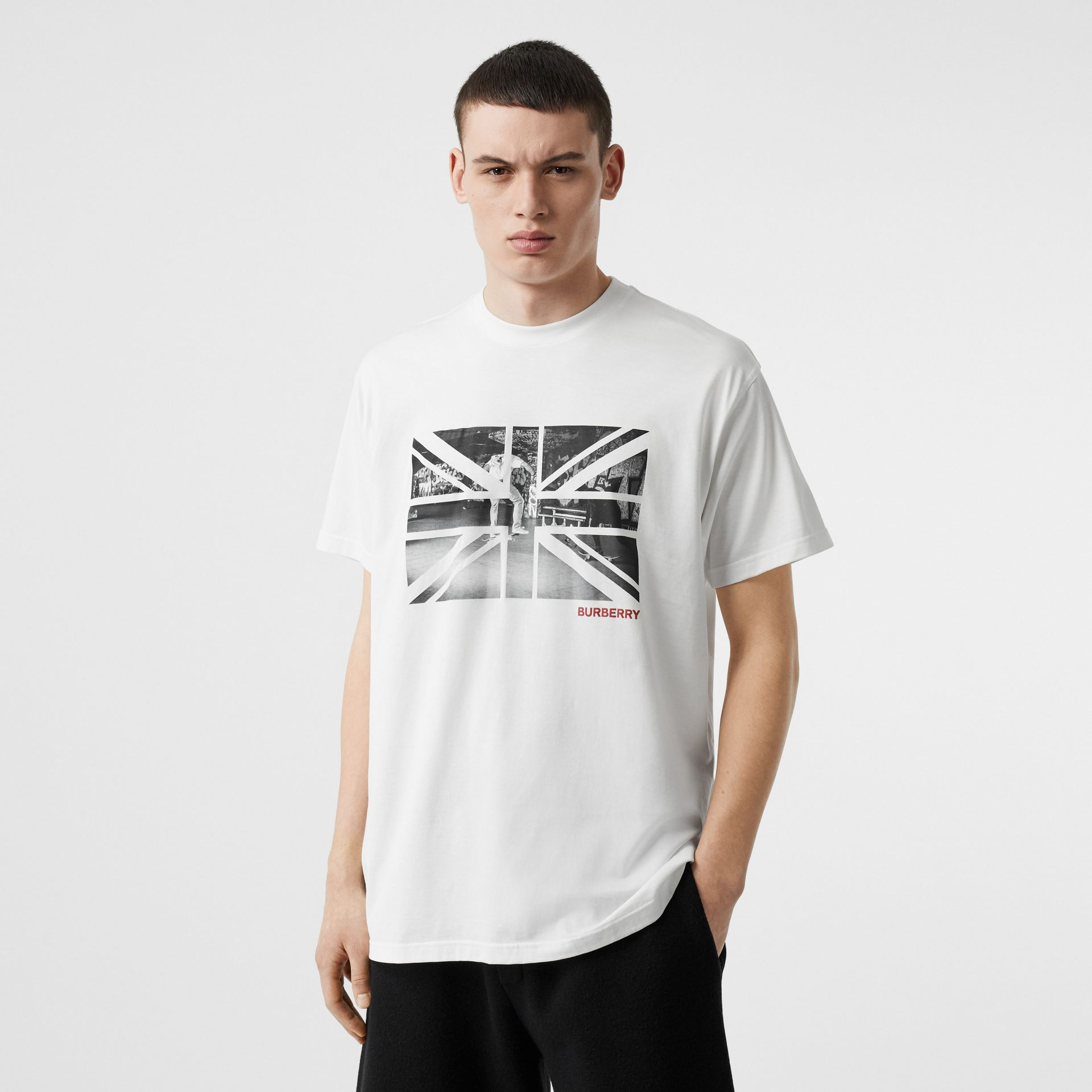 Union Jack Photo Print Cotton Oversized T-shirt in White - Men | Burberry - gallery image 4