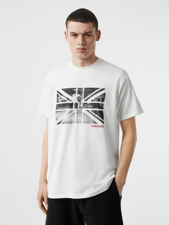 Union Jack Photo Print Cotton Oversized T-shirt in White
