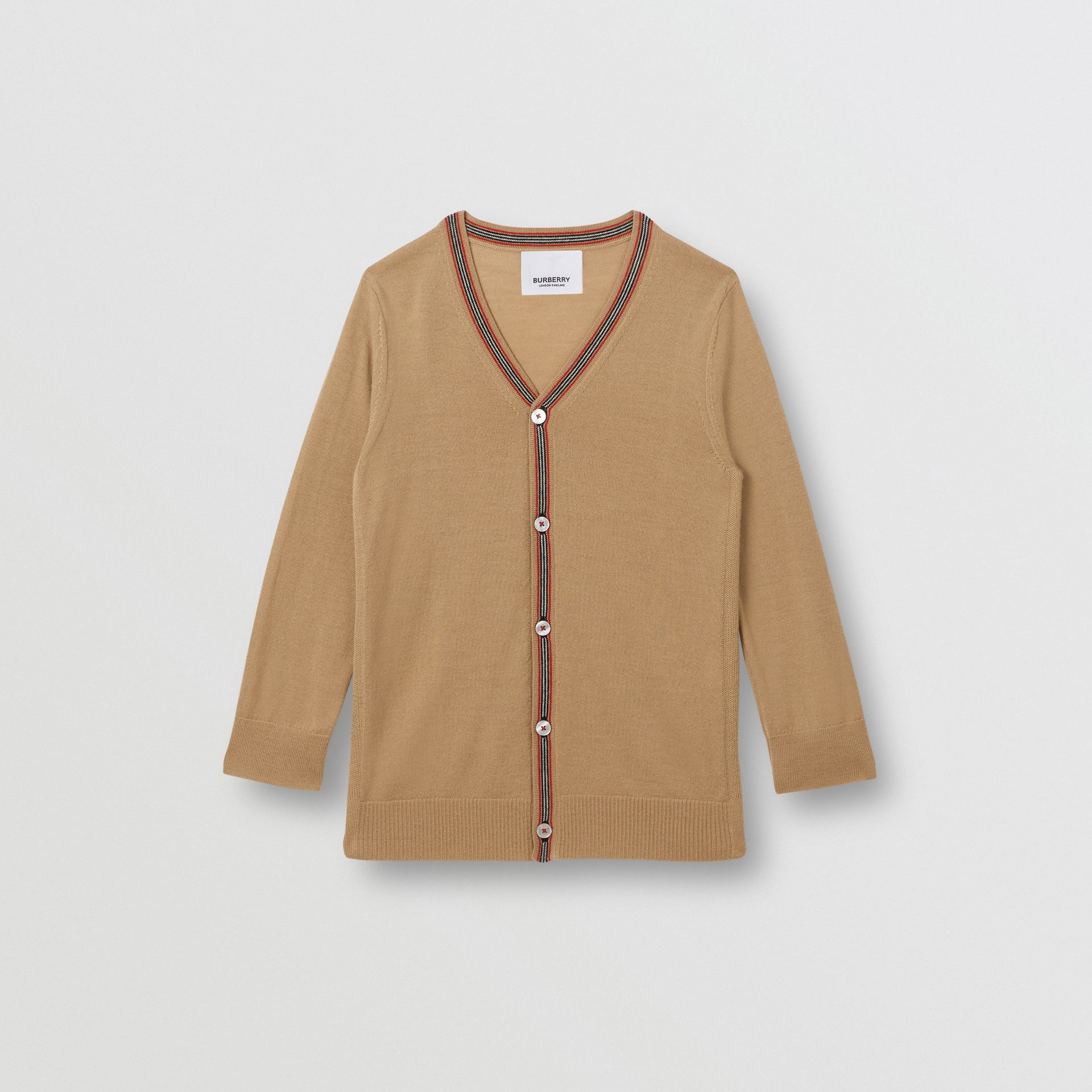 Icon Stripe Detail Merino Wool Cardigan in Archive Beige | Burberry - gallery image 0