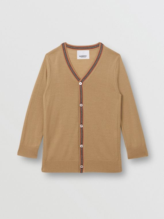 Icon Stripe Detail Merino Wool Cardigan in Archive Beige