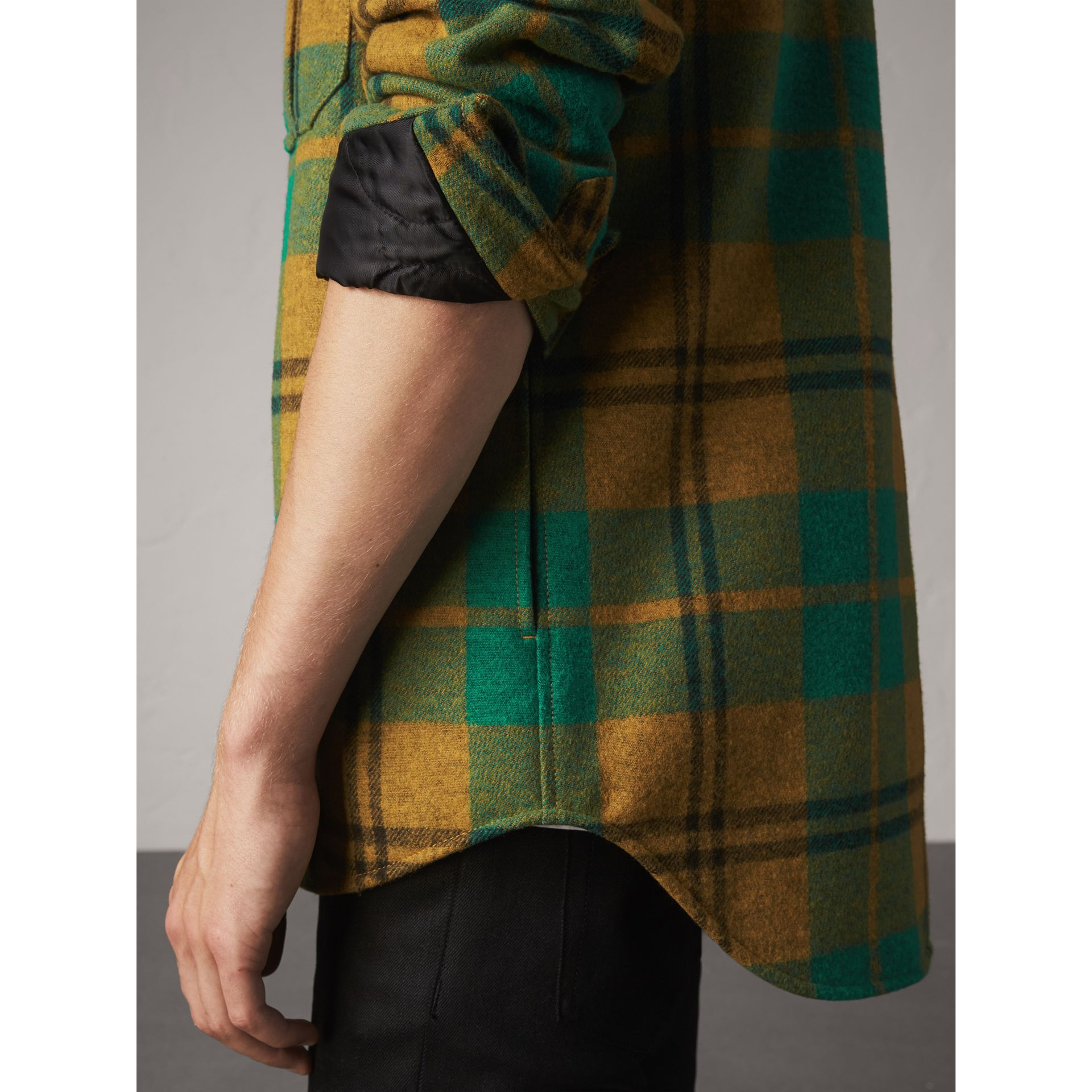 Quilt-lined Check Wool Cotton Blend Flannel Shirt in Amber Yellow - Men | Burberry - gallery image 5