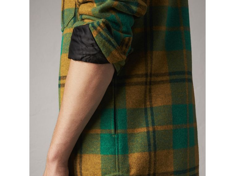 Quilt-lined Check Wool Cotton Blend Flannel Shirt in Amber Yellow - Men | Burberry - cell image 4