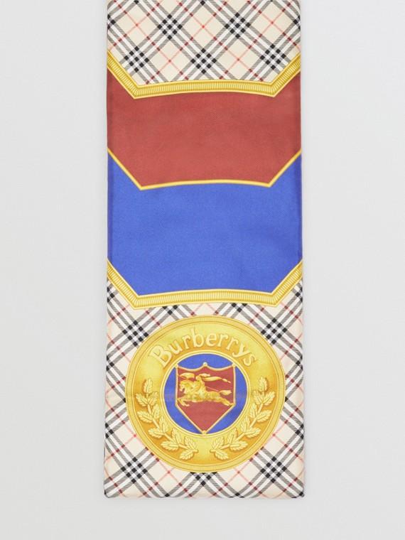 Lenço de seda acolchoado com estampa de lenços do acervo (Amarelo Antigo)