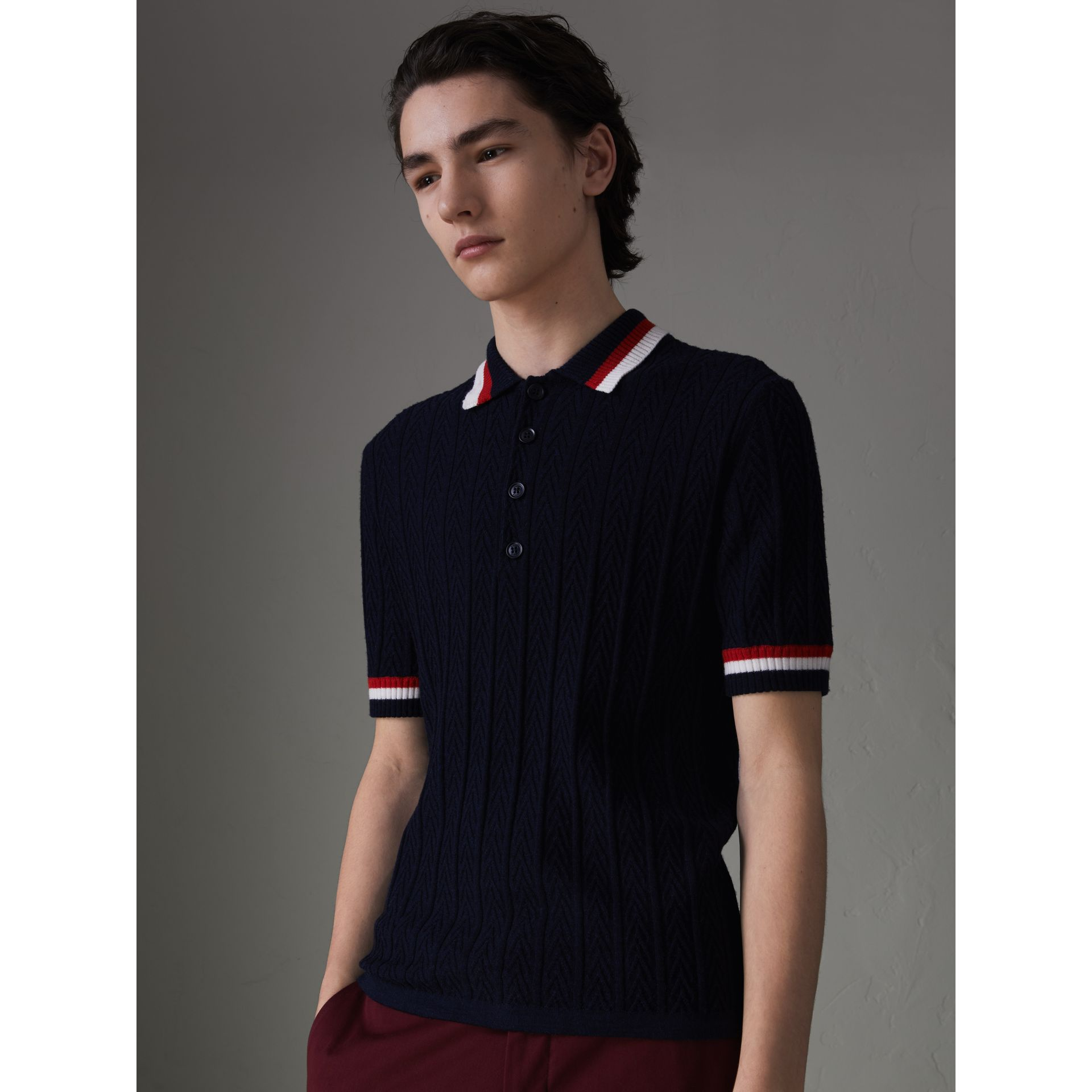 Stripe Detail Cable Knit Wool Polo Shirt in Navy - Men | Burberry Australia - gallery image 4