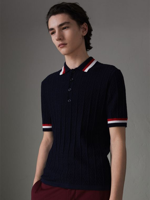 Stripe Detail Cable Knit Wool Polo Shirt in Navy