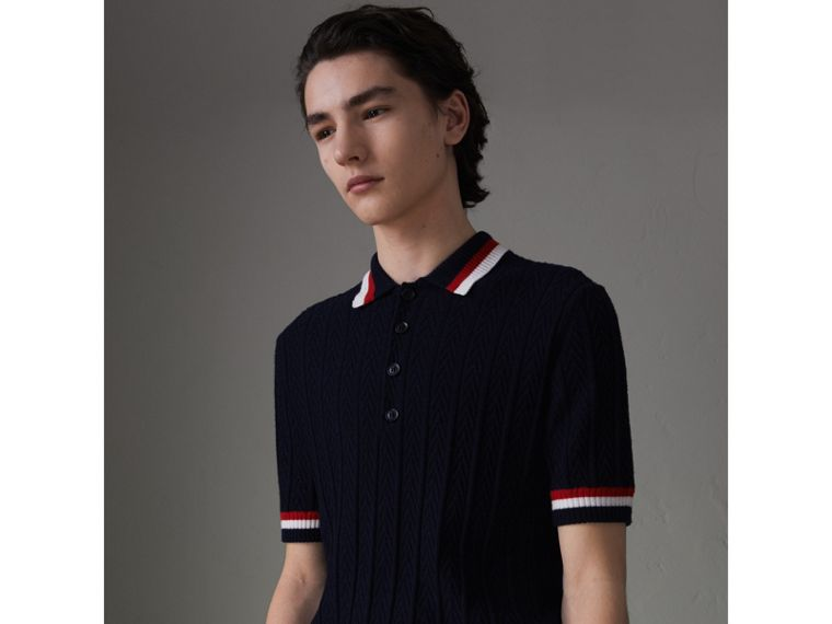 Stripe Detail Cable Knit Wool Polo Shirt in Navy - Men | Burberry United Kingdom - cell image 4
