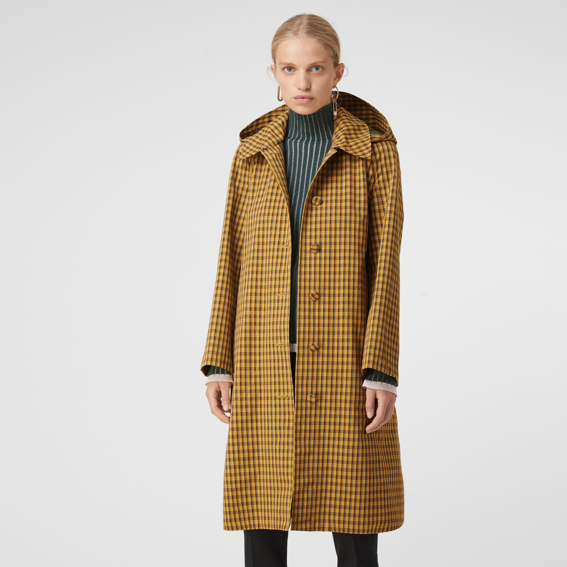Detachable Hood Check Cotton Car Coat in Ochre Yellow - Women | Burberry - gallery image 4