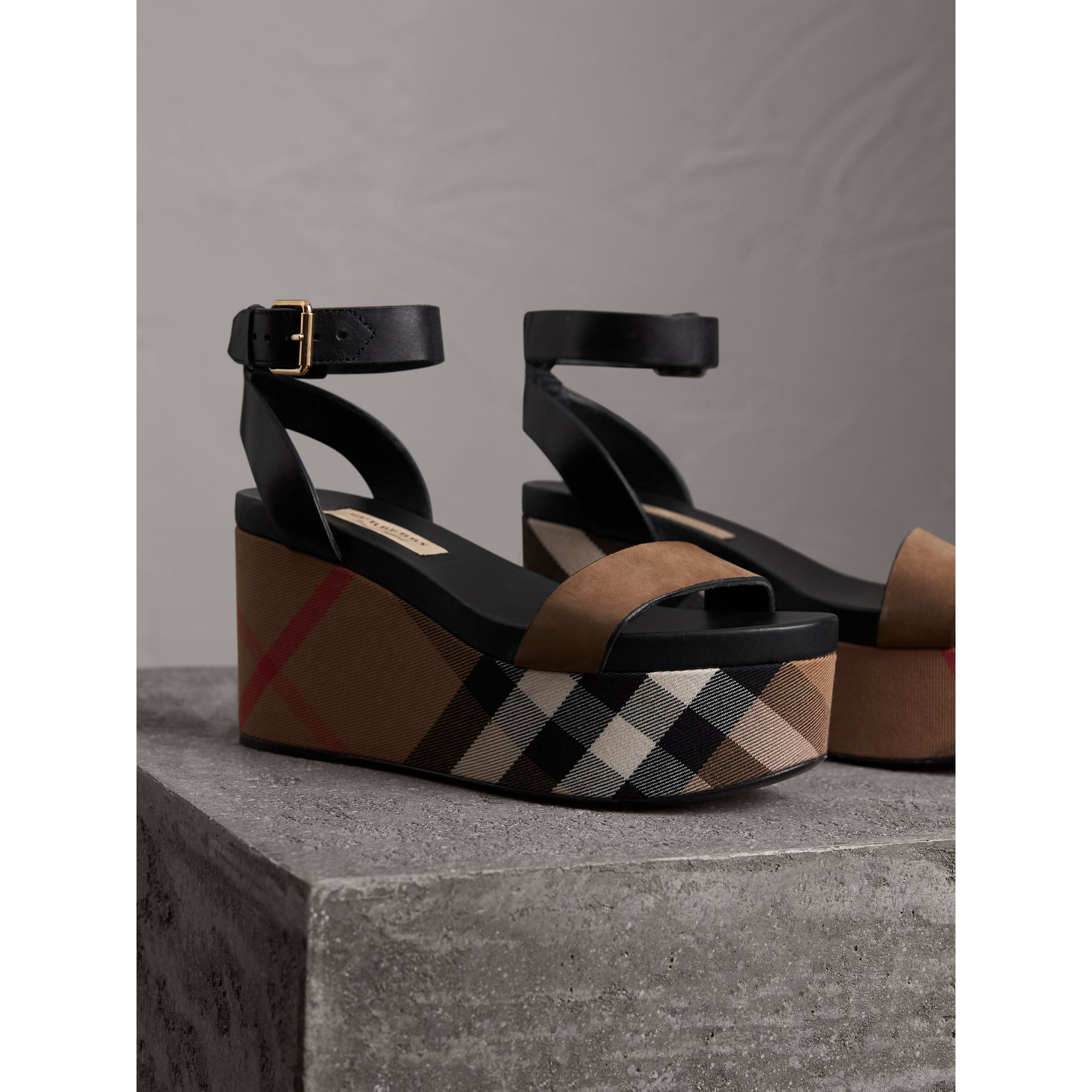House Check and Leather Wedge Sandals in Dark Heather Melange - Women | Burberry - gallery image 6