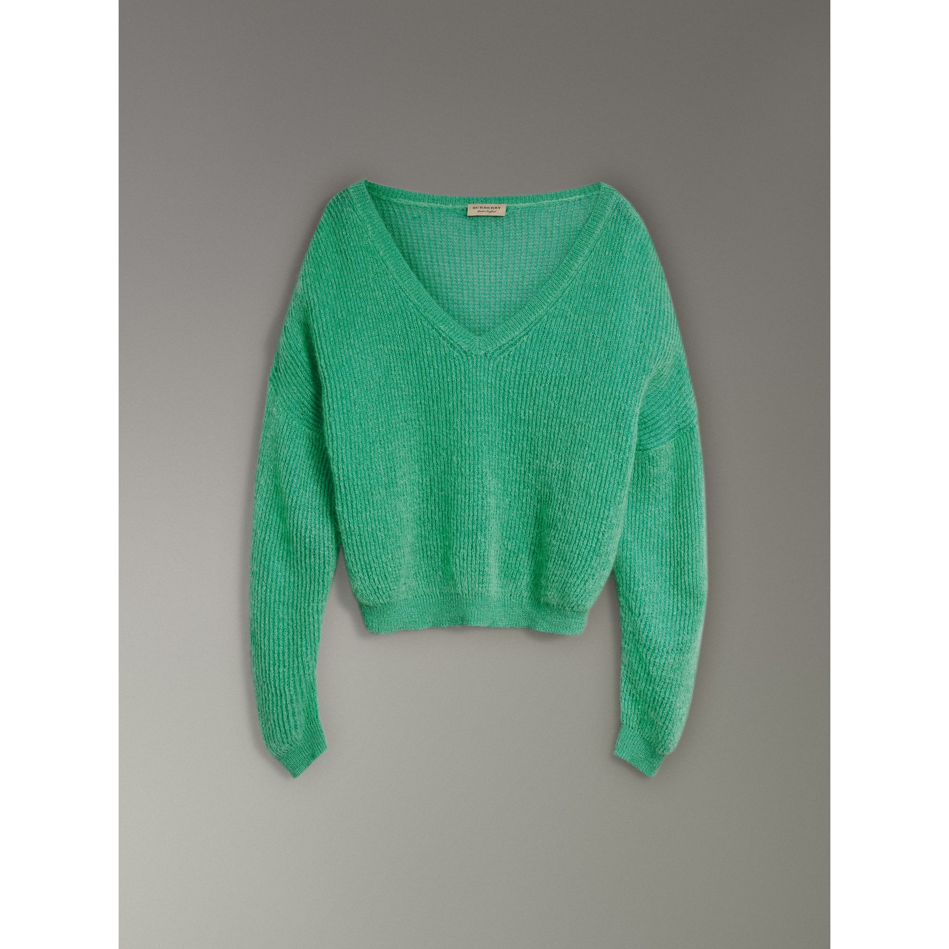 Rib Knit Mohair Silk Blend V-neck Sweater in Aqua Green - Women | Burberry - gallery image 3