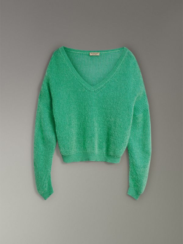 Rib Knit Mohair Silk Blend V-neck Sweater in Aqua Green - Women | Burberry - cell image 3