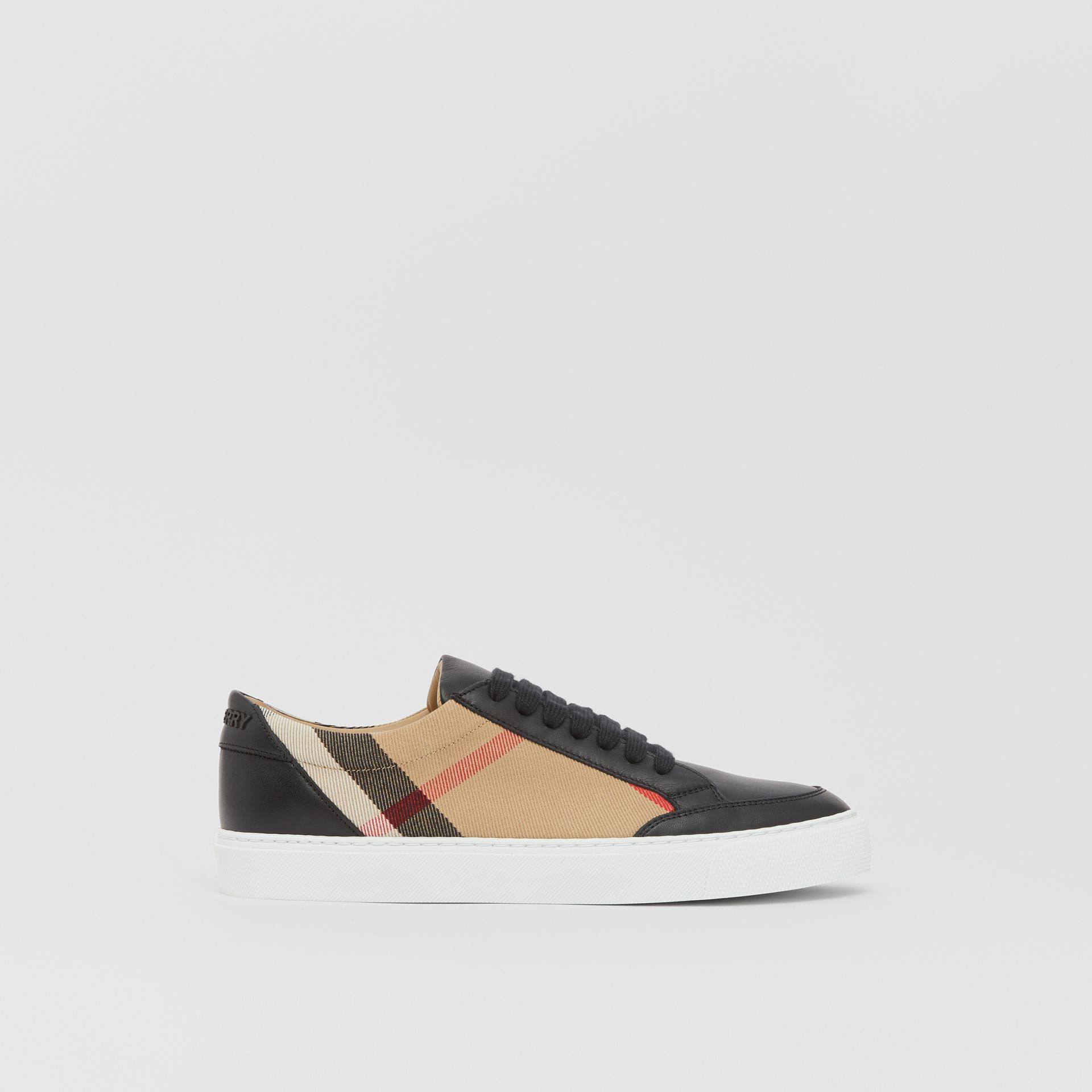 House Check and Leather Sneakers in Black - Women | Burberry United Kingdom - gallery image 5