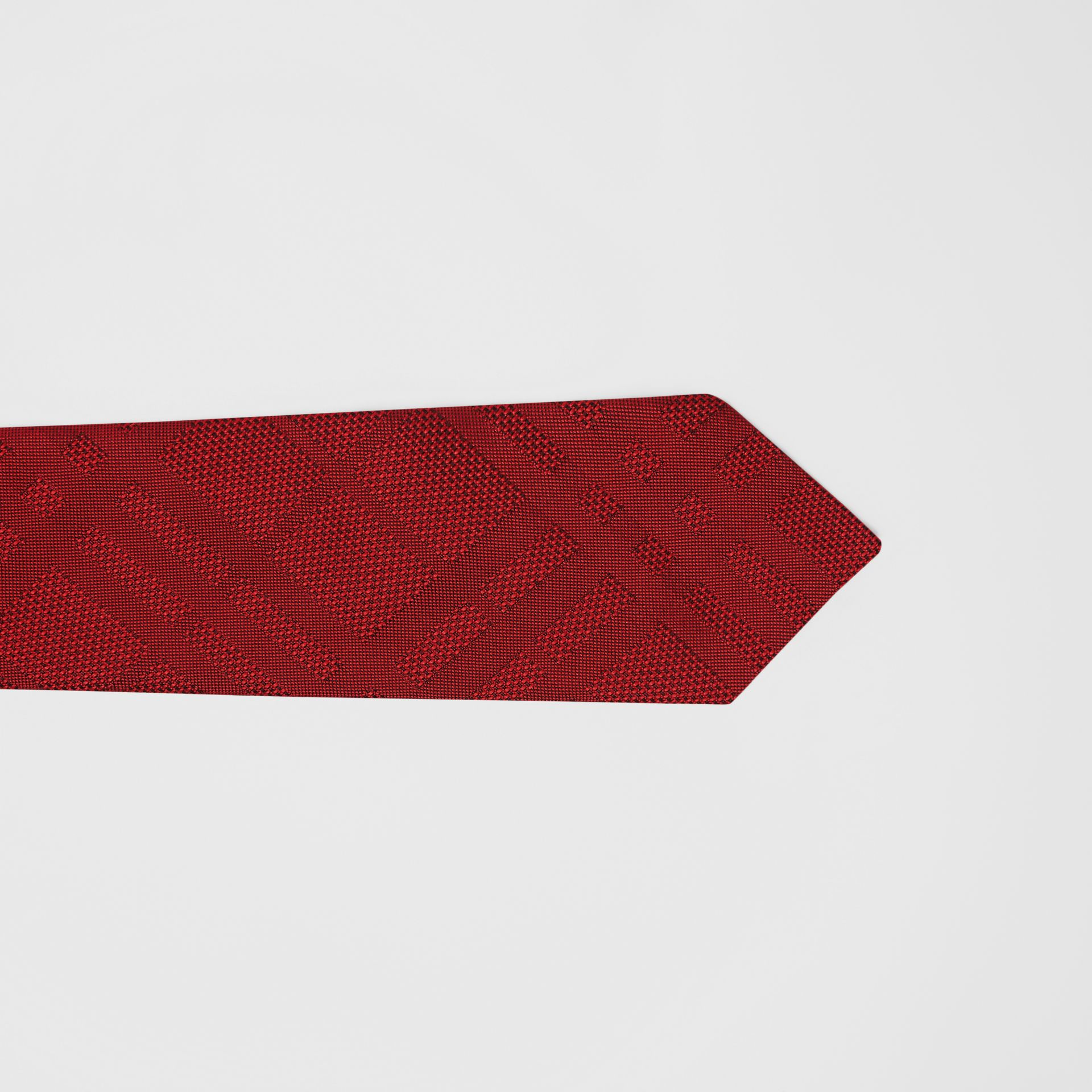 Classic Cut Check Silk Jacquard Tie in Deep Red - Men | Burberry - gallery image 1
