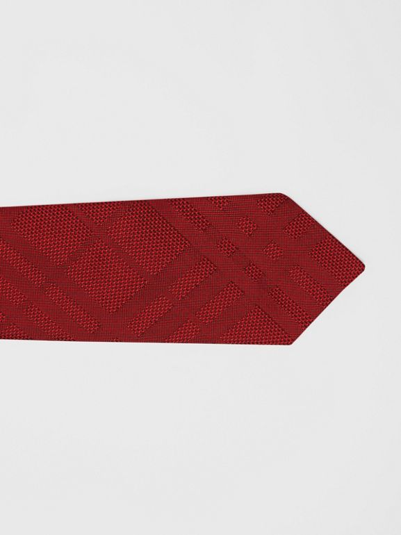 Classic Cut Check Silk Jacquard Tie in Deep Red - Men | Burberry - cell image 1
