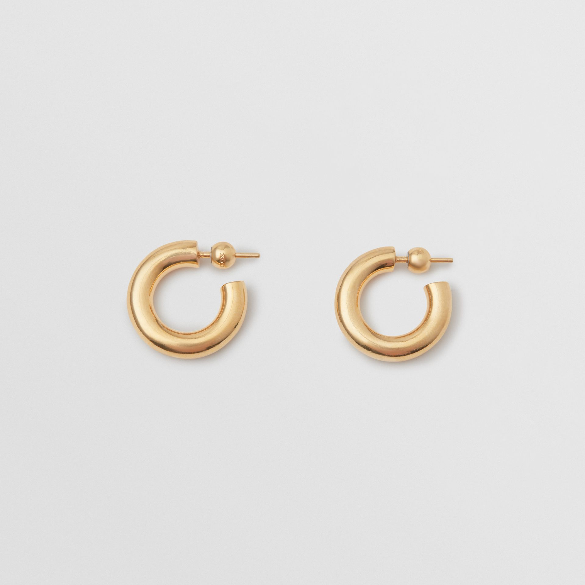 Gold-plated Hoop Earrings in Light - Women | Burberry Australia - gallery image 0