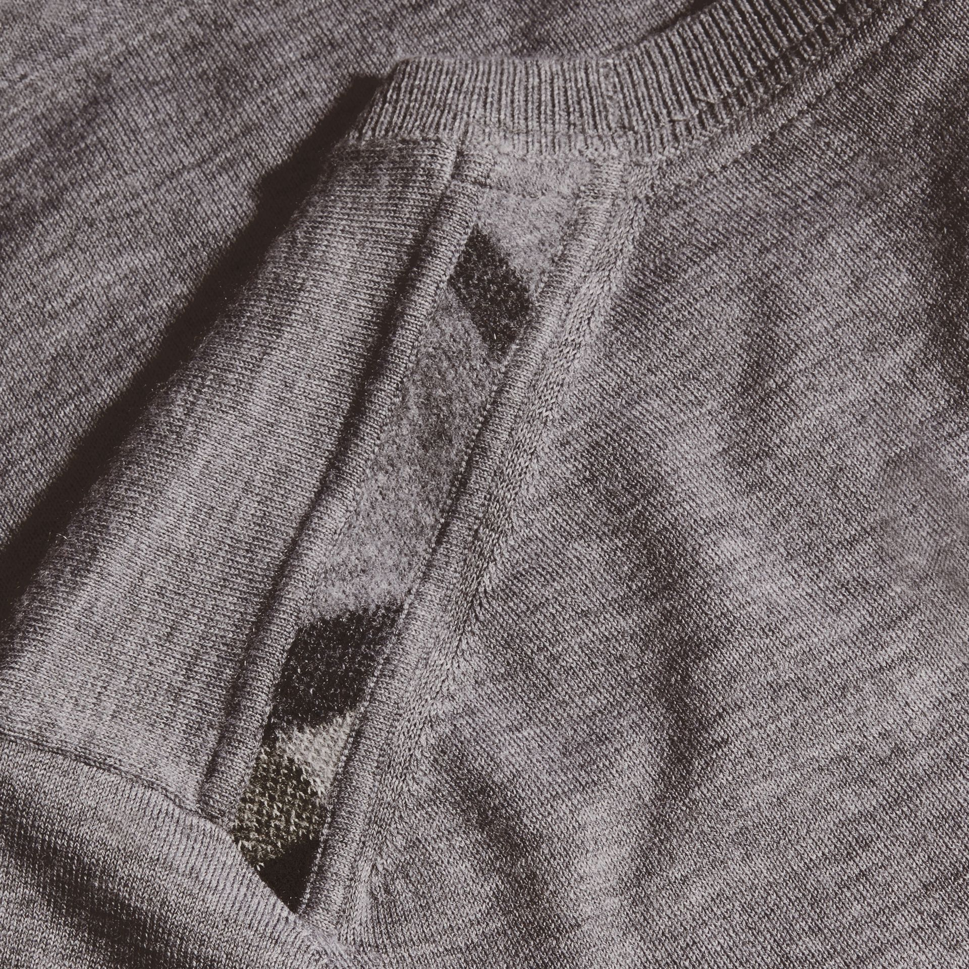 Lightweight Crew Neck Cashmere Sweater with Check Trim in Pale Grey Melange - gallery image 2